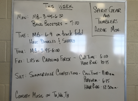 Revised Band Schedule week of 9-21 to 9-26